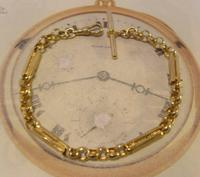 Vintage Pocket Watch Chain 1950s 12ct Gold Plated Large Fancy Link Albert Victorian Revival (3 of 12)