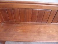 Original Victorian Antique Pine 4 Seater Church Pew / Bench (7 of 8)
