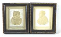 Pair of 19th Century Plaster Relief Plaques, Titled 'Petrus' & 'Paulus'