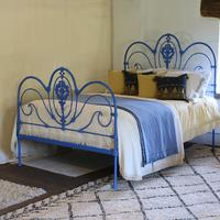 Blue Curly Iron Victorian Antique Bed