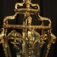 French 19th Century Gilt Bronze Antique Hall Lantern (4 of 10)