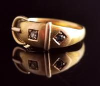 Victorian 18ct Gold Buckle Ring, Sapphire & Diamond (7 of 14)