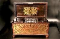 Exceptional Regency Period Brass Inlaid Tea Caddy (4 of 5)