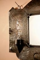 Amsterdam School Hammered Copper Wall Mirror / Sconces (7 of 13)