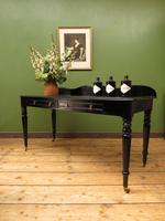 Antique Black Ebonized Console Table with Drawers & Moustache Back (20 of 22)