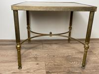French Brass Square Leather Top Coffee Table (3 of 28)