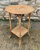 Antique Victorian Octagonal Bamboo Rattan Table (3 of 9)