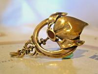 Antique Pocket Watch Chain Fob 1904 Art Nouveau Gilt & Carnelian Stone Fob (2 of 7)
