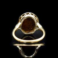 Antique Natural Opal & Rose Cut Diamond Halo 18ct 18k Yellow Gold Ring (7 of 8)
