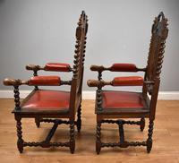 Pair of 1910 Oak Barley Twist Armchairs (5 of 15)