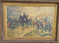 Antique Oil Painting - Wellington At Waterloo, The Dawn Of Day June 18th 1815 (After Robert Alexander Hillingford 1896)