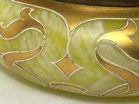 Antique Art Nouveau Loetz Art Glass Round Gilt Floral Trinket Box (23 of 33)