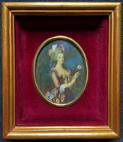 Gorgeous Original Vintage Miniature Portrait Oil Painting in 18th Century Manner (2 of 10)