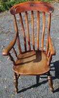 Oak Windsor Country Farmhouse Armchair with Elm Seat - 1900s
