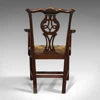Antique Carver Chair, English, Mahogany, Needlepoint, Elbow, Chippendale Style (10 of 12)