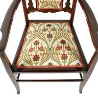 Art Nouveau Inlaid Mahogany Armchair (6 of 8)