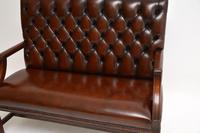 Leather & Mahogany Chippendale Style Sofa (8 of 12)
