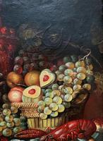 Fine Early 20thc Antique Still Life Oil Painting - Fruit & Shellfish - Minor TLC (8 of 14)