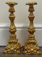 Pair of Decorative French 19th Century Gilded Hallmarked Cartouche Scroll Candlesticks (39 of 40)