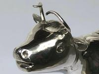 Victorian English Solid Sterling Silver Cow Creamer Maker William Moering (4 of 12)