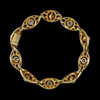 Antique Art Nouveau French Diamond Pearl Bracelet 18ct Gold 3ct Diamond c.1900 (6 of 7)
