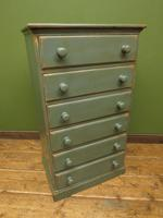 Painted Narrow Blue Pine Chest of Drawers, Shabby Chic (7 of 11)