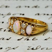 The Antique Late Victorian Three Opal & Four Diamond Ring (2 of 3)