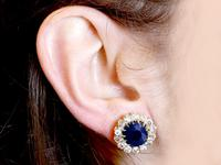 7.05ct Sapphire & 2.31ct Diamond, 18ct Yellow Gold Cluster Earrings c.1930 (9 of 9)