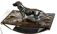 Art Nouveau WMF Style Metal Blotter with Dachshund Finial (3 of 5)