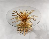 Mid 20th Century Gilt Metal Wheat Sheaf Table With Glass Top (7 of 7)