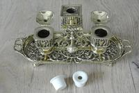 Fine William Tonks & Sons Brass Inkwell Registered Diamond for 1883 Double Inkstand (6 of 10)