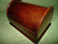 Compact Figured Oak Roll Top Stationery Box. c1900 (7 of 14)