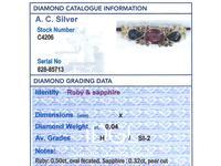 0.50ct Ruby, 0.32ct Sapphire & Diamond, 18ct Yellow Gold Dress Ring - Vintage c.1940 (6 of 9)
