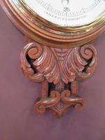 Superb Antique Polished Oak Carved Banjo Barometer (4 of 6)