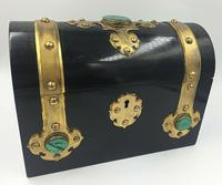 Charles Asprey Gothic Revival Ebonised Box Cask Malachite Mounts c.1865