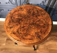 Victorian Burr Walnut & Marquetry Occasional Table (9 of 10)