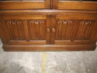 Tall Glazed Oak Linenfold Bookcase - 021-1365 (4 of 4)