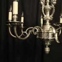 French Silver Gilded Cherub 8 Light Antique Chandelier (5 of 10)