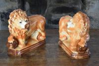 Large 19th Century Staffordshire Pottery Lions (5 of 10)