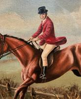 'The Fox Hunt' Original Vintage Country Sporting Pursuit Oil on Canvas Painting (13 of 17)