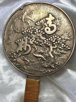 Antique 19th Century Japanese Hand Held Dragon Bronze Mirror (4 of 11)