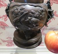 Japanese Bronze Censer & Cover with Kylin on a Rock on the Lid (5 of 10)