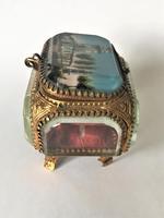 European Glass & Ormolu Scenic Trinket Box (5 of 7)