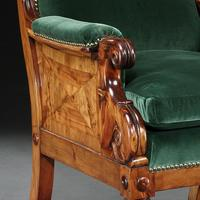 Rare Late Regency Yew Wood Library Bergere Armchair (7 of 9)