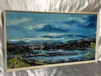20th Century Oil Painting Wales Menai Bridge Church Straits Snowdonia Mountains (20 of 27)