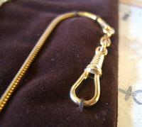 Vintage Pocket Watch Chain 1970s 12ct Gold Plated with Ornate Button Fob Nos (9 of 10)