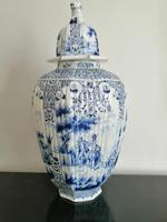 Imposing 19th Century Dutch Delft Blue & White Vase & Cover (2 of 15)