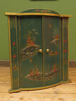 Vintage 1950s Chinese Painted Corner Cabinet, Racing Green (13 of 16)