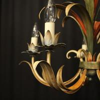 French Polychrome Toleware 5 Light Chandelier (3 of 10)