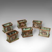 Set of 6 Antique Napkin Rings, English, Copper, Arts & Crafts c.1920